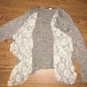 Sweaters - Beige cardigan with lace inside